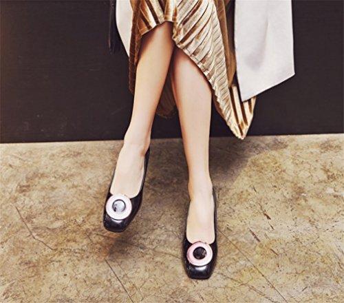 Altos Abuela Tacones Madre a De Sandalias Boda Bombas Satén Novia Corte Zapatos Mujeres Lucky a Regalo Clover Medianos Black La anpW5wqTBX