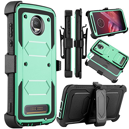 (Moto Z2 Force Case, Moto Z2 Play Case, Venoro Heavy Duty Shockproof Full Body Protection Rugged Hybrid Case Cover with Swivel Belt Clip and Kickstand for Motorola Z Force 2017)
