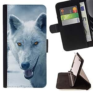 BullDog Case - FOR/Samsung Galaxy S3 Mini I8190Samsung Galaxy S3 Mini I8190 / - / wolf arctic winter furry canine beast /- Monedero de cuero de la PU Llevar cubierta de la caja con el ID Credit Card Slots Flip funda de cuer