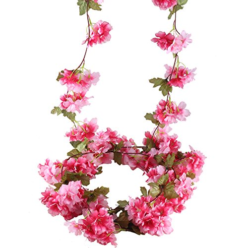 Enchanted Forest Baby Shower - HUAESIN 7.2 FT Artificial Cherry Blossom Flowers Artificial Vine Garland Wreath Plants Silk flowers Faux Hanging Vines Rattan for wedding Wall Home Garden Decor Pink 2pcs