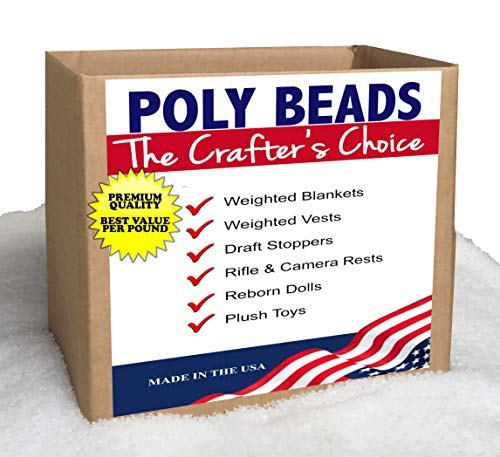 Poly Beads Bulk (50 LBS) Stuffing and Filler Poly Plastic Pellets for Blankets, Draft Stoppers, Game Changer Bags,Reborn Dolls, Plush - Beads Pack 50
