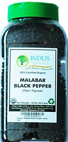 Indus Organics Malabar Black Peppercorns, 1 Lb Jar, Premium Grade, High Purity, Freshly Packed