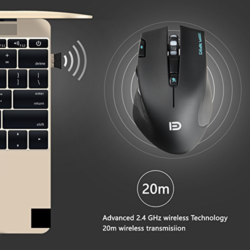 Wireless Gaming Mouse - 2.4GHz Optical Ergonomic USB Mice with Fire Button 6 Adjustment DPI 7 Buttons 6 Colors Breathing Lights for Mac Laptop PC Photo #6
