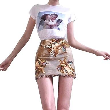 NINGNETI Moda Mujer Imprimir Mini Falda LáPiz Hip Slim Falda Corta ...