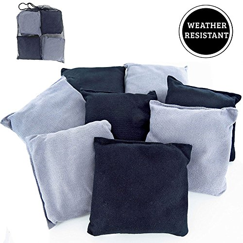 Premium Weather Resistant Duck Cloth Cornhole Bags - Set of 8 Bean Bags for Corn Hole Game - 4 Silver & 4 Black (Classic Texas Flag)