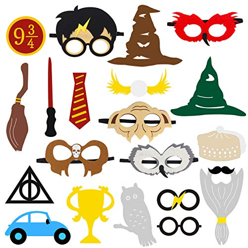 MALLMALL6 Magical Wizard Party Photo Booth Props, Wizard Castle Party Mask, Birthday Carnival Party Dress-up Accessories and Theme Party Favor for Kids-20 Count -