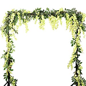 Summer Flower 5.6 Feet/pcs Artificial Silk Wisteria Vine Rattan Silk Hanging Flower Garland Ivy Plants for Outdoor Wedding Party Home Garden Wall Decoration 1