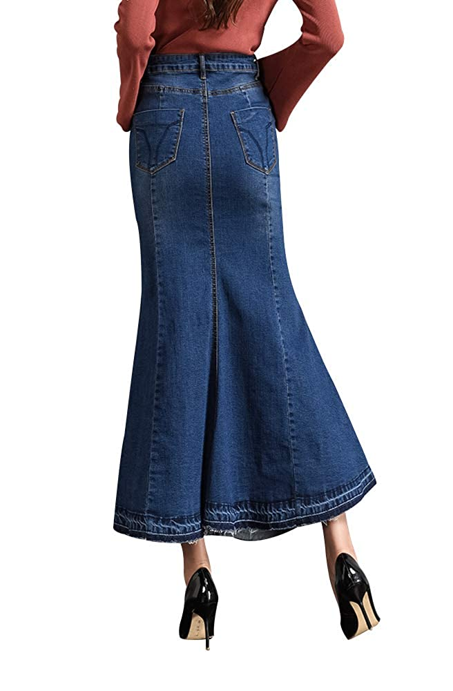 0a5b9028f2 LISUEYNE Women s Casual Stretch Waist Washed Denim Ruffle Fishtail Skirts  Long Jean Skirt at Amazon Women s Clothing store