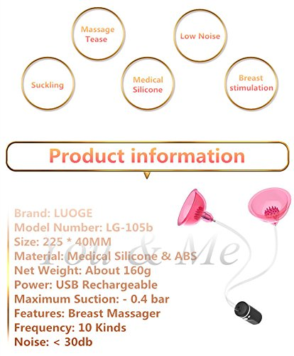 FANGMING LUOGE USB Rechargeable Automatic Sucking Nipple Vibrating Breast Enhancer Enlargement Breast Pump Stimulator Sex Toys for Women by FANGMING