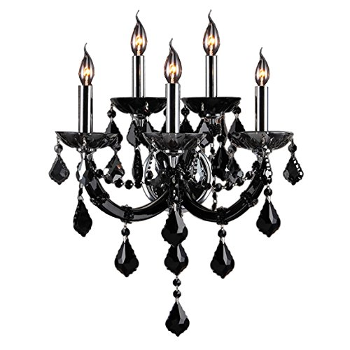Light Candle Chandelier Finish (Brilliance Lighting and Chandeliers Maria Theresa Imperial 5-light Chrome Finish and Black Crystal Candle Wall Sconce)