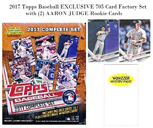 2017 Topps Baseball EXCLUSIVE MASSIVE 705 Card Complete Factory Set with TWO(2) AARON JUDGE ROOKIES & Bonus Wowzzer Mystery Pack with AUTOGRAPH or MEMORABILIA Card! Includes all Cards from Series (Topps Baseball Set)