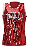 Howriis Women's Sequins Basketball Bulls 1 Tank Vests (One Size, Dark Red)