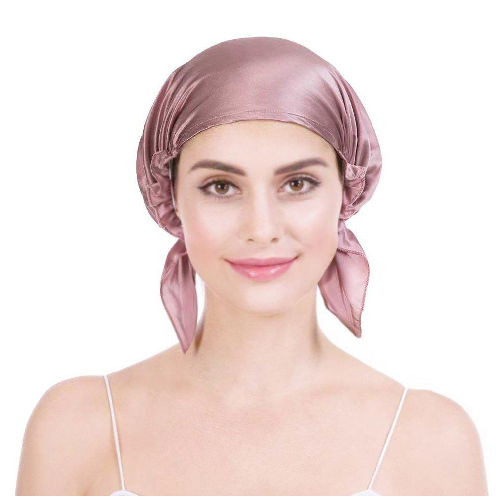 Bonnet de Nuit en 100% Soie Chapeau Bonnet De Sommeil 19 Momme Femme Bonnet  Coiffure Soin protege cheveux ... 8492c3f0060