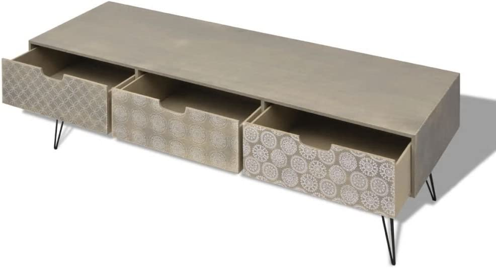 Table Salon Maison Table Basse mewmewcat Meuble TV M/étal Style Industriel Noir 120 x 35 x 48 cm avec 2 Portes et 3 /étag/ères