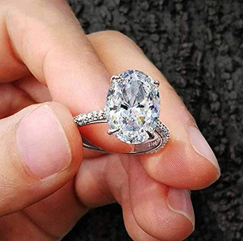 2.5ct F-G Color Oval Cut Moissanite Halo Streling Silver Handmade Engagement and Wedding Ring for her ()