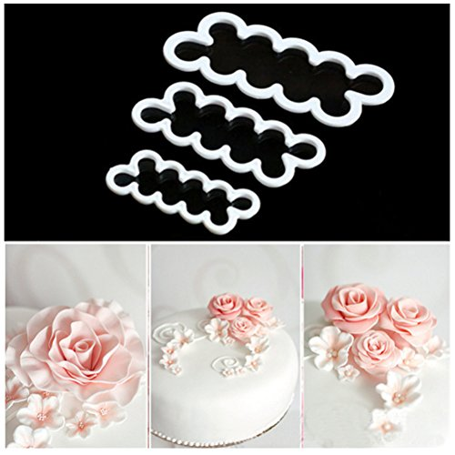 HBlife 3 Pcs Cake Decorating Mold Sugar Craft Easiest Rose Flower Ever Cutter DIY Fondant Maker Baking Tool Accessories (Tiny Flower Cookie Cutter)