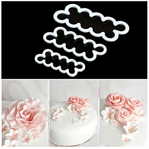 HBlife 3 Pcs Cake Decorating Mold Sugar Craft Easiest Rose Flower Ever Cutter DIY Fondant Maker Baking Tool Accessories (Rose Sugar Mold)