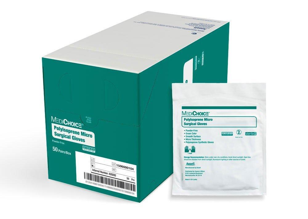 MediChoice Micro Surgical Glove, Powder Free, Sterile, Synthetic Polyisoprene 7.0, Green, 1314SGL90070 (Box of 50)