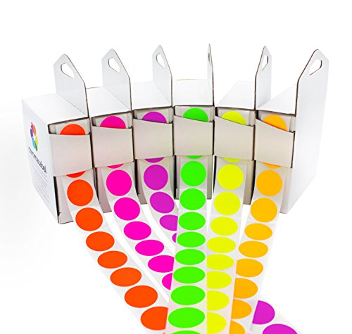 (ChromaLabel Fluorescent Color-Code Dot Label Kit | 6 Assorted Colors | 1,000/Dispenser Box (3/4 inch) )