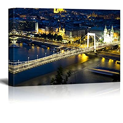 Canvas Prints Wall Art - Beautiful Scenery/Landscape Evening/Night View of Budapest | Modern Wall Decor/Home Decoration Stretched Gallery Canvas Wrap Giclee Print & Ready to Hang - 16