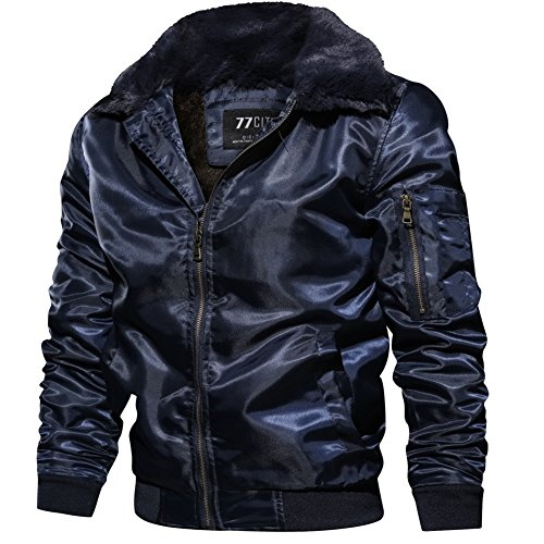 Thick Classic XS 3XL Polyester Navyblue Warm Mens Winter Size Fur Coat Fleece Lining Collar Jacket Bomber YYZYY Faux UK Flight Keep UfH5tqxg5w