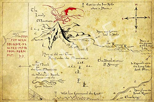 Best Print Store - The Lord of The Rings, Hobbit, Thror's Map Poster (11x17 inches) (The Hobbit Map)