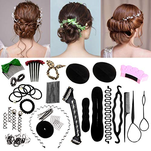 Luckyfine Hair Styling Set, Hair Styling Kit Hairdresser Accessories Magic Hair Clip Styling Pads Foam Sponge Bun Donut Hairpins Accessory Tool - Styling Set