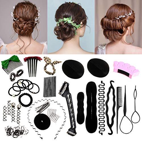 - Luckyfine Hair Styling Set, Hair Styling Kit Hairdresser Accessories Magic Hair Clip Styling Pads Foam Sponge Bun Donut Hairpins Accessory Tool black