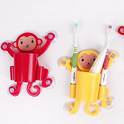 Disfraces de lavar de dibujo animado mono – Cepillo de dientes pasta de dientes estante Chuck