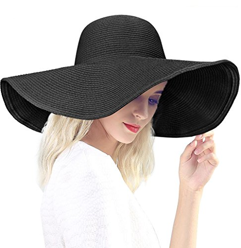 DAFUNNA Women's Ridge Wide Floppy Brim Sun Hat Beachwear Striped Straw Hat Foldable and Packable (Black)