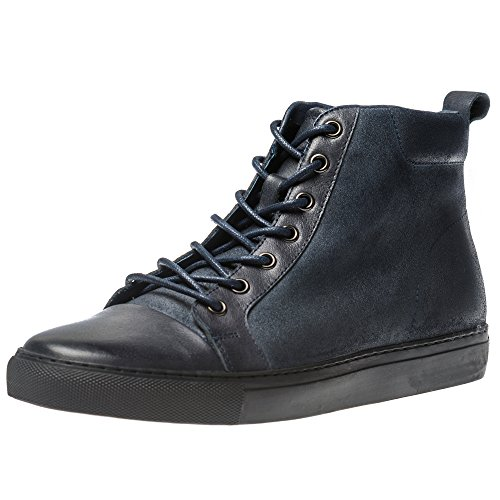 Calf Leather Sneaker (Yolkomo Men's Calf Leather Chukka Boots Classic High-Top Roud-Toe Fashion Design Sneaker Shoes Navy US8)