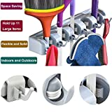 IBBM Mop Broom Holder–Broom Wall Mounted Organizer- Broom Storage Hanger for Kitchen, Bathroom, Garage, Garden and Laundry with 5 Ball auto-adjust Slots and 6 Hooks Hold up to 11 Tools (Gray)