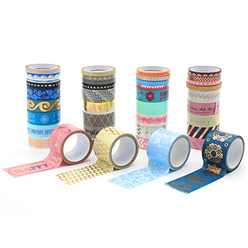 Yutian Washi Masking Tape Set of 40 Rolls,  Decorative Masking Tape Collection for DIY Crafts and Wrapping Office Party Supplies
