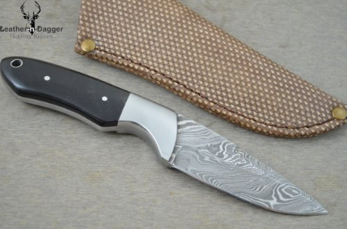 Huge Sale By Leather-n-dagger | Professional Custom Handmade Damascus Steel Hunting Knife LD90B