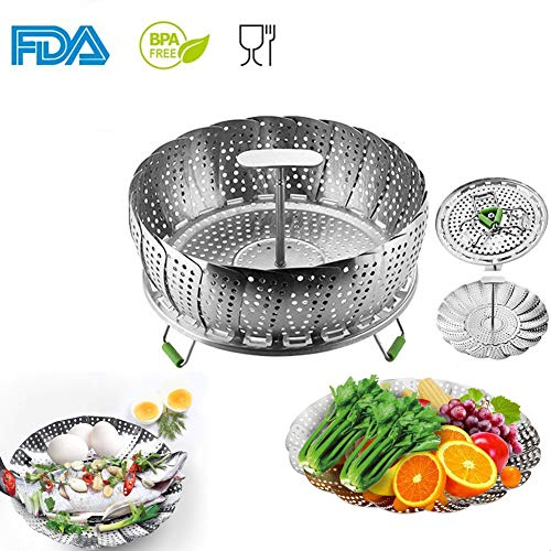Vegetable Steamer Basket - Insert for Instant Pot - 100% Stainless Steel - Pressure Cooker & Instant Pot Accessories, Pot in Pot - Egg Rack, with Extendable Handle (Large 11)