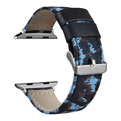 V-MORO Apple Watch Band Series 1 Series 2, 38mm Canvas Fabric Genuine Leather Smart Watch band Replacement With Adapter Metal Clasp for Apple Watch iWatch All Models (Camouflage blue-38mm)