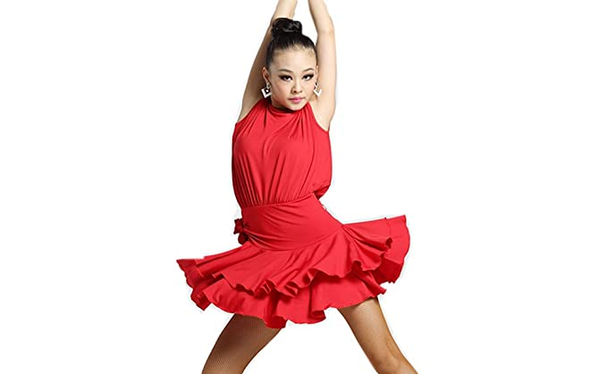 97be05e04f5a Motony Women Latin Dance Dress New Style Latin Dance Costume Adult Dance  Practice Clothes Performance Skirt Red M: Amazon.co.uk: Clothing