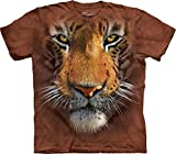 The Mountain Men's Tiger Face T-Shirt,Brown,Large