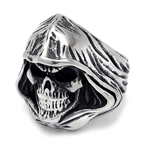 LILILEO Jewelry Stainless Steel Egyptian Mysterious Tribe Drapes Skull Halloween Ring For Men's Rings -