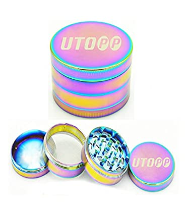 UTOPP Tobacco Herb Grinders Mill 4 Parts Diameter 1.97 inches Zinc Alloy Pollen Spice Grinder Compact Teeth with Sifter Magnetic Top
