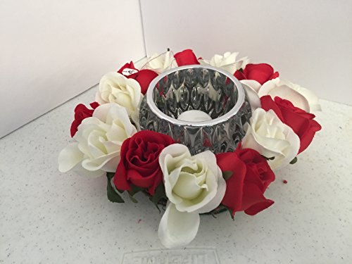 ement- Geometric Cut Glass - Red and White Roses ()