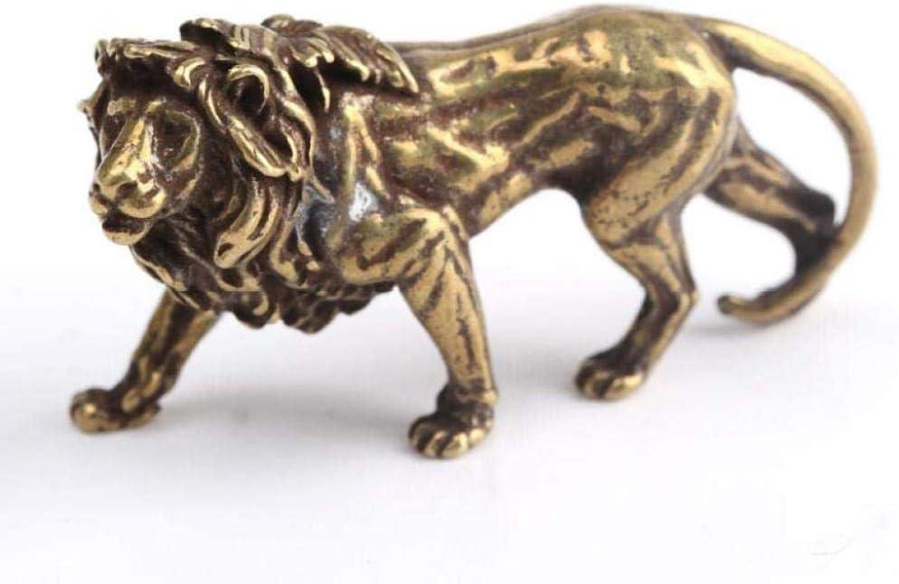 MFHDK Statues,Cast Bronze Sculpture Ornaments Anitique Bronze Lion Desk Decorations Vintage Brass Animal Statue Home Decor Ornaments Figurines Sculptue Sculptures