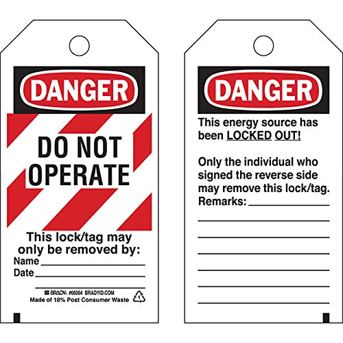 Brady Lockout Tag, Danger: ''Do Not Operate'' Striped Heavy-Duty Polyester, 5 1/2'' x 3'' (125 Pack)