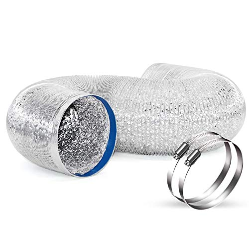 Y YOOMALL 4 Inch 8 Feet Non-Insulated Flex Air Aluminum Ducting Sturdy Dryer Vent Hose for HVAC Ventilation, with 2 4