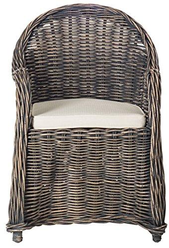 Safavieh Home Collection Callista Black Wash Wicker Club Chair