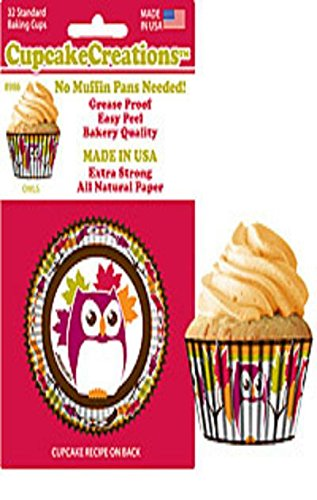 Owl Cupcake Papers, Standard Muffin Liners - 32 count by Cupcake Creations -