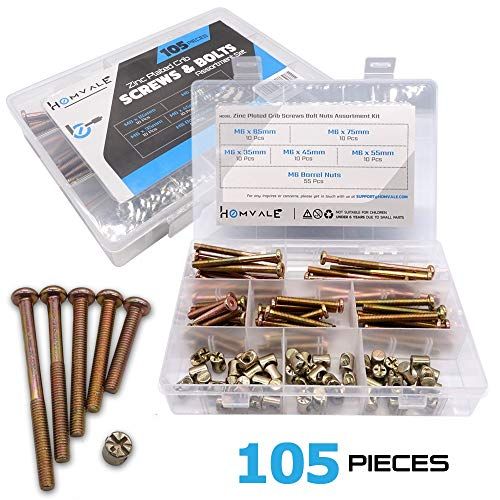 Zinc Plated Crib Screws and Bolts 105 pcs, Hex Drive Socket Cap Furniture Barrel Screws Bolt Nuts by Homvale
