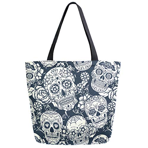 ZzWwR Day of The Dead Sugar Skull Flowers Large Canvas Shoulder Tote Top Handle Bag for Gym Beach Travel Shopping