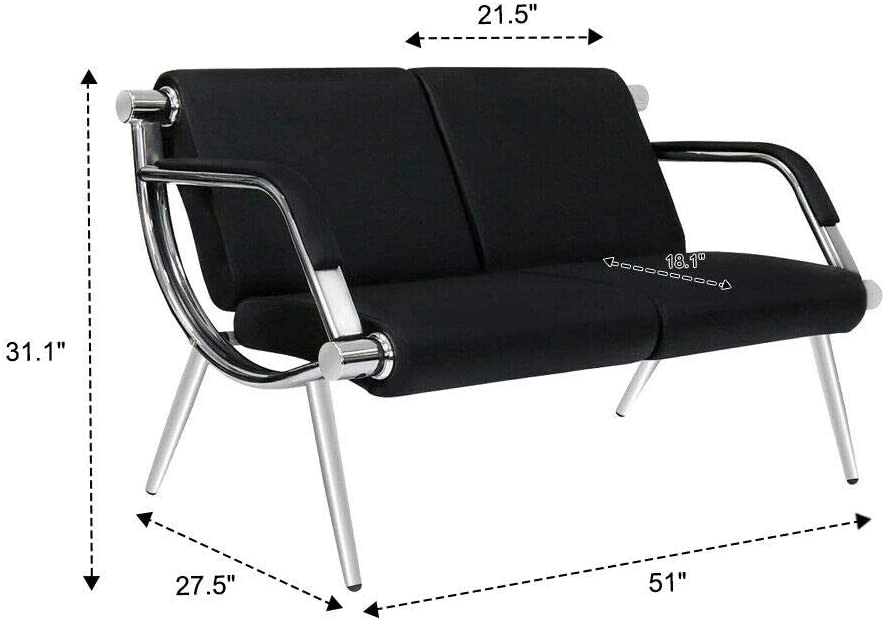 Kintness 2 Seat Waiting Room Chair PU Leather Reception Guest Chair Lobby Furniture with Arms for Airport Bank Clinic Office