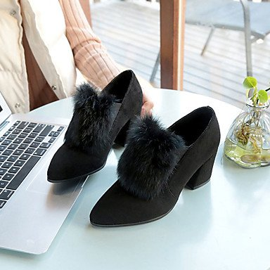 SANMULYH Komfort Frauen 'S Schuhe Pu Feder Fallen Komfort SANMULYH Heels Niedrigem Absatz Für Outdoor Schwarz 6eec29